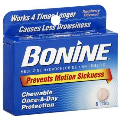 Bonine Chewable Tablets for Motion Sickness, Raspberry, 8 ea