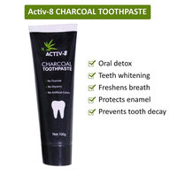 Activ-8 Activated Charcoal Toothpaste (100g) and Bamboo Toothbrush Teeth Whitening Kit. Eliminates bad breath, Prevents tooth decay, Removes smoke and coffee stains, Vegan, Fluoride Free, Mint Flavour