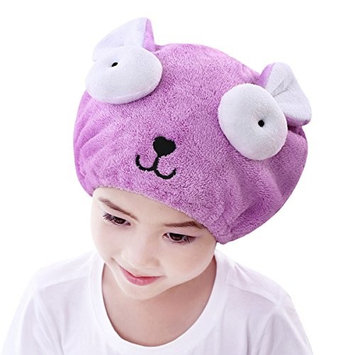 Kids Hair Drying Cap for Girls Elastic Absorbent Microfiber Bath Shower Hair Drying Towels Wrap Turban Cute Cartoon Rabbit/Bear Fast Dry Hair Hat Velvet Bathing Spa Cap Towel Gift