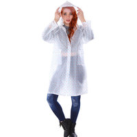 Transparent Emergency Hooded Knee-Length Rain Coat with Pockets
