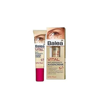 Balea VITAL Anti-Fatigue Eye-Cream 5in1 - Helps Reduces Lines, Wrinkles, Puffiness & Shadows (15ml) - For Mature Skin Ages 40 to 60+ (Not tested on Animals).