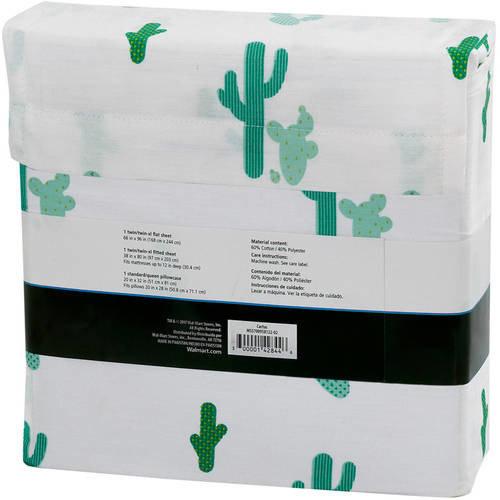 Mainstays 180 Thread Count Novelty Bedding Sheet Set [pattern: pattern-cactus]