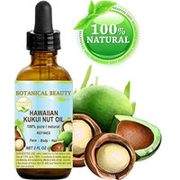 Botanical Beauty KUKUI OIL HAWAIIAN 100% Pure / Refined Cold Pressed Carrier Oil for Skin, Hair, Lip and Nail Care. 2 Fl.oz.- 60 ml.