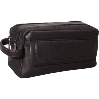 Mancini Leather Goods Colombian Leather Double Compartment Toiletry Kit