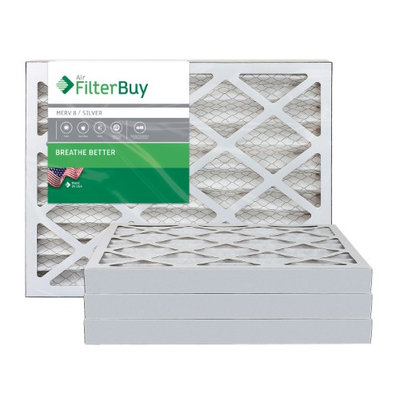AFB Silver MERV 8 13x21.5x2 Pleated AC Furnace Air Filter. Filters. 100% produced in the USA. (Pack of 4)