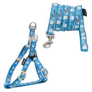 Touchdog Caliber Designer Dog Leash And Harness Blue Pattern