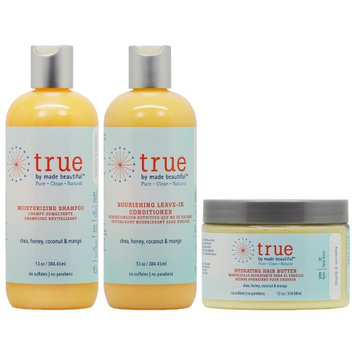 True By Made Beautiful Shampoo + Leave In Conditioner 13oz + Hair Butter 12oz 'Set' (Pack of 3)