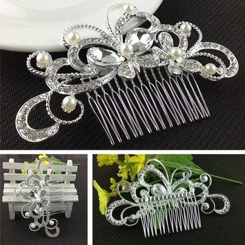 Wedding Hair Comb, Dealzip Inc Elegant Women Pearls Crystal Rhinestone Hair Comb Clip Wedding Bridal Attire Hair Accessories