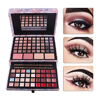 PhantomSky Pro 85 Colors Eyeshadow Palette Makeup Cosmetic Contouring Kit Combination with Pressed Powder Blush Lipgloss Cream Concealer