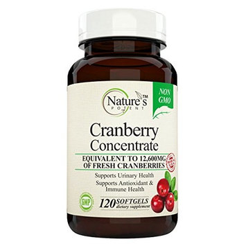 Nature's Potent - Cranberry Concentrate, Non-GMO Supplement Equivalent to 12,600mg of Fresh Cranberries, with Vitamins C and E, 120 Softgels