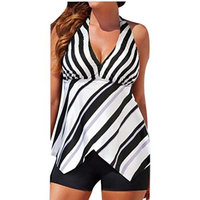 HP95 Tankini Top Set Women Stripe Swimsuits with Boy Shorts Swimming Costumes