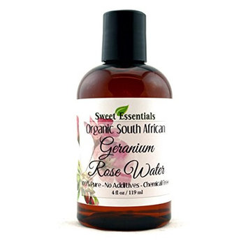 Organic Geranium Rose Water 4oz   Imported From South Africa   Premium Face Toner   Chemical Free   Gentle & Calming   100% Natural   Perfect for Reviving, Hydrating and Rejuvenating Your Face & Neck