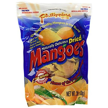 Philippine Brand Naturally Delicious Dried Mangoes Tree Ripened Value Bag 3Pack (30 Ounces) i@G$$ds