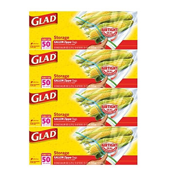 Glad Zipper Food Storage Plastic Bags- Gallon - 50 Count