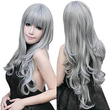 Anogol Vocaloid 80cm Long Grey Wavy Hair Wigs Gray Lolita Cosplay Wig
