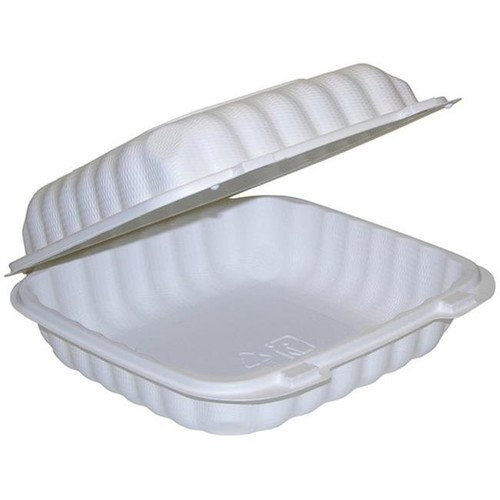 Pactiv YCN809010000 9 x 9 in. Single Compartment H-L Container TFPP, White - Case of 120
