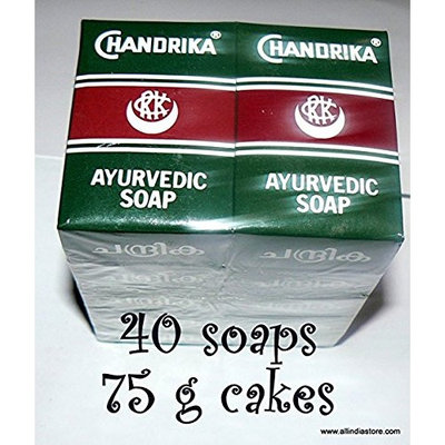 40 Chandrika Ayurvedic Soap Bars - MANUFACTURE DATE 2014 THERE IS NO EXPIRATION DATE ON THE SOAPS, ORIGINAL PACKAGE