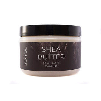 African Unrefined Shea Butter by Zenful. - 8 Oz Jar- Raw, 100% PURE- Use alone or in DIY Recipes for Skin Care or Hair Care- Moisturizing- Unscented- Vegan and Cruelty Free- Double walled jar