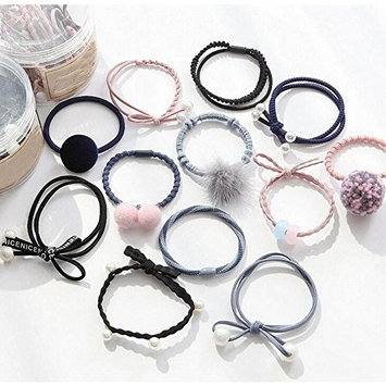 12PCS Assorted Style Hair Bands Ropes Elastics Ribbons Ponytail HoldersWith A Container Box Universal for Baby Girls Kids Children Ladies