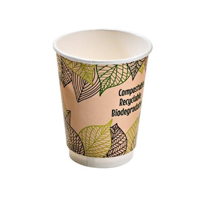 Packnwood 210GCDW10 10 oz Double Wall Compostable Paper Cups 3.5 x 3.7 in.