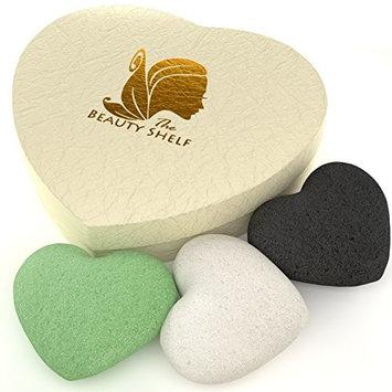 Konjac Sponge (3 Pack) Charcoal, Green Tea & Natural Facial Cleansing & Exfoliating Beauty Sponges