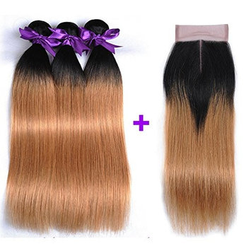 Ombre Straight Virgin Hair With Closure 3 Bundles 300g Top Quality Brazilian Straight Human Hair Extensions 2 Tone Ombre Brazilian Hair Weaves Blonde Color