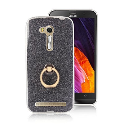 Moonmini Asus ZenFone Go ZB452KG 4.5 inch. Case Cover Sparkling Slim Fit Soft TPU Back Case Cover with Ring Grip Stand Holder 2 in 1 Hybrid Glitter Bling Bling TPU phone Case Cover (Black)
