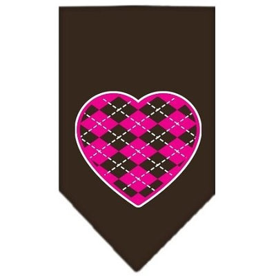 Ahi Argyle Paw Pink Screen Print Bandana Cocoa Small