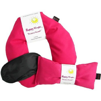 Herbal Neck Wrap Microwavable & Free Gift Sleep Mask | Hot Cold Aromatherapy Heating Pad for Shoulder & Neck Pain Relief Pillow | Stress & Migraine Relief | Heat or Freeze | Happy Wraps (Pink Cotton)