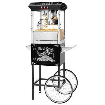 Superior Popcorn Company Superior Black 8oz Hot & Fresh Style Popcorn Popper Machine w/Cart, 8 Ounce