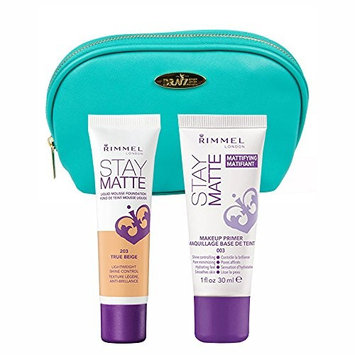 Two Piece Kit Rimmel Stay Matte Foundation True Beige and Stay Matte Primer with Aquamarine Draizee Leather Cosmetic Bag