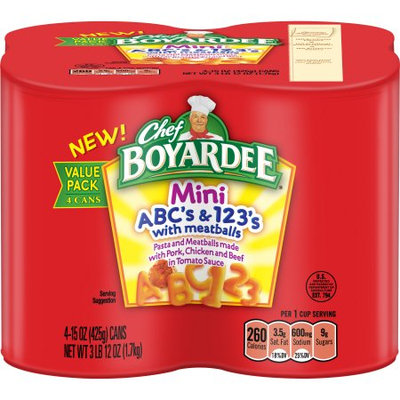 Chef Boyardee Mini ABC's & 123's with Meatballs Pasta