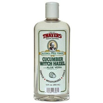 Thayers Witch Hazel Cucumber Face Toner. 12 Fluid Ounce Alcohol-Free Facial Mist with Aloe Vera Formula. Skin Care Essentials [Cucumber]