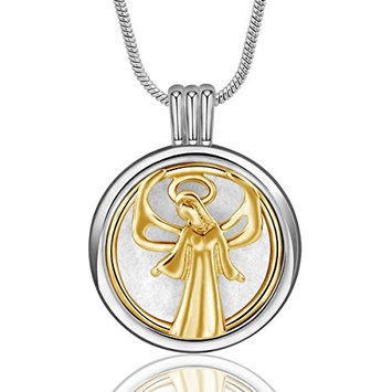 INFUSEU Guardian Angel Pendant Necklace Aromatherapy Essential Oil Diffuser Locket Jewelry with 12PCS Refill Replacement Pads for Women Gift Set