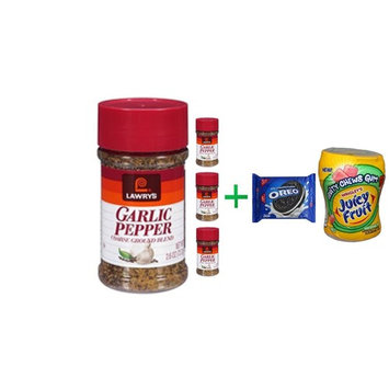 Lawry's Garlic Pepper Coarse Ground Blend with Natural Spices, 2.6 oz. Shaker( 4 PACK ) + OREO Cookies Sandwich Chocolate - 14.3 Oz + Fruity Chews Gum Watermelon 1/60 Count