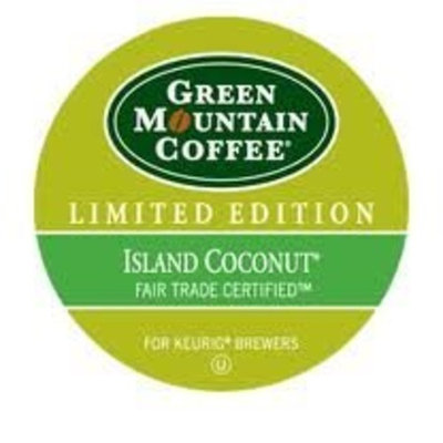 Bundle: SEASONAL FLAVOR! Green Mountain ISLAND COCONUT! K-cups, pack of 12. Seasonal, Limited Edition Flavor! Delicious!