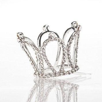Tinksky Flower Girl Rhinestone Crown Teardrop Tiara Headband with Silver Hair Comb Clip