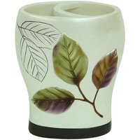 Bacova Guild Purple Leaves Wide Opening Resin Iridescent Toothbrush Holder
