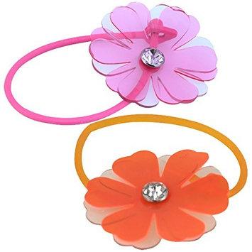 Ponytail Accessory, Summer Beauty Ponytail Elastics with Flower (Pink & Orange)