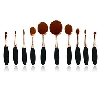 Essentiel de Beauté [Risk Free Trial] Oval Toothbrush Makeup Brush Set Foundation Brushes Contour Powder Blush Concealer Brush Makeup Cosmetic Tool Set (Rose G