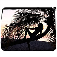 Gorgeous Water Cafe On Deep Blue Water At Night Black Large Messenger School Bag [Gorgeous Water Cafe On Deep Blue Water At Night]