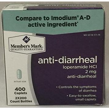 Member's Mark Anti-Diarrheal Loperamide HCl 2mg (2 bottles (400 caplets))