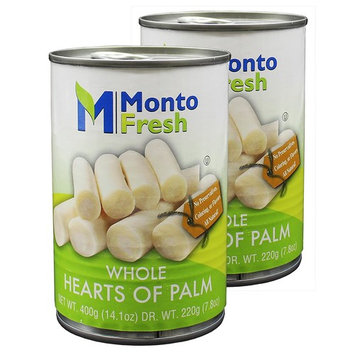 MontoFresh All Natural Whole Hearts Of Palm | 2-Pack 14.1oz Canned Palm Hearts for Salad & Dressing | Nutritional Value Palmitos, Rich in Vitamins & Minerals | Kosher, NO GMO, NO Preservatives [Whole]