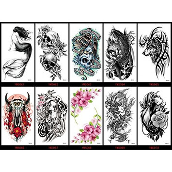 Spestyle waterproof and non toxic tattoo 10pcs Halloween fake temporary tattoos tattoo stickers in a packages,including skull heads,mermaid,fish,ox head,wolf,dragon,flowers,lady,etc.