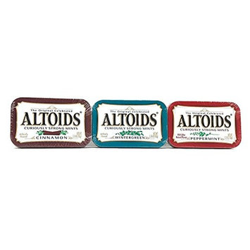 Altoids Curiously Strong Mints Variety Bundle Including Peppermint, Wintergreen and Cinnamon Mint Tins