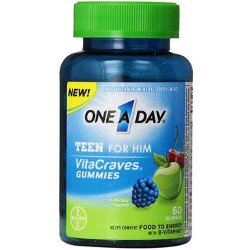 One A Day VitaCraves for Him Teen Men's Multivitamin Gummies, 60 ct, 4 pack
