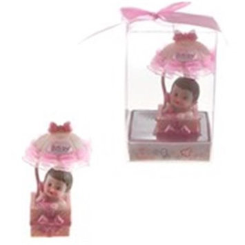 DDI 1996294 Baby in Gift Box with Awning Poly Resin - Pink Case of 48