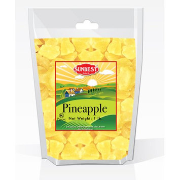 SUNBEST Dried Pineapple Chunks 1 Lb in Resealable Bag (16 Oz)