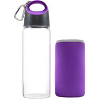 Carteret Collections Hot And Cold Glass Bottle With Sleeve - Purple