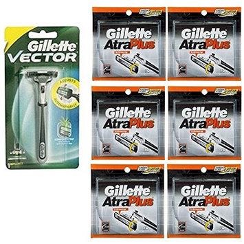 Vector Plus Razor Handle + Atra Plus Refill Razor Blades 10 ct. (Pack of 6) + FREE LA Cross Blemish Remover 74851